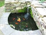 Koi Pond Stacked Stone Garden Wall